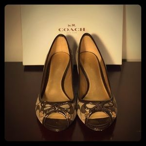 Coach Brown Peep-Toe Wedges (Size 5.5)